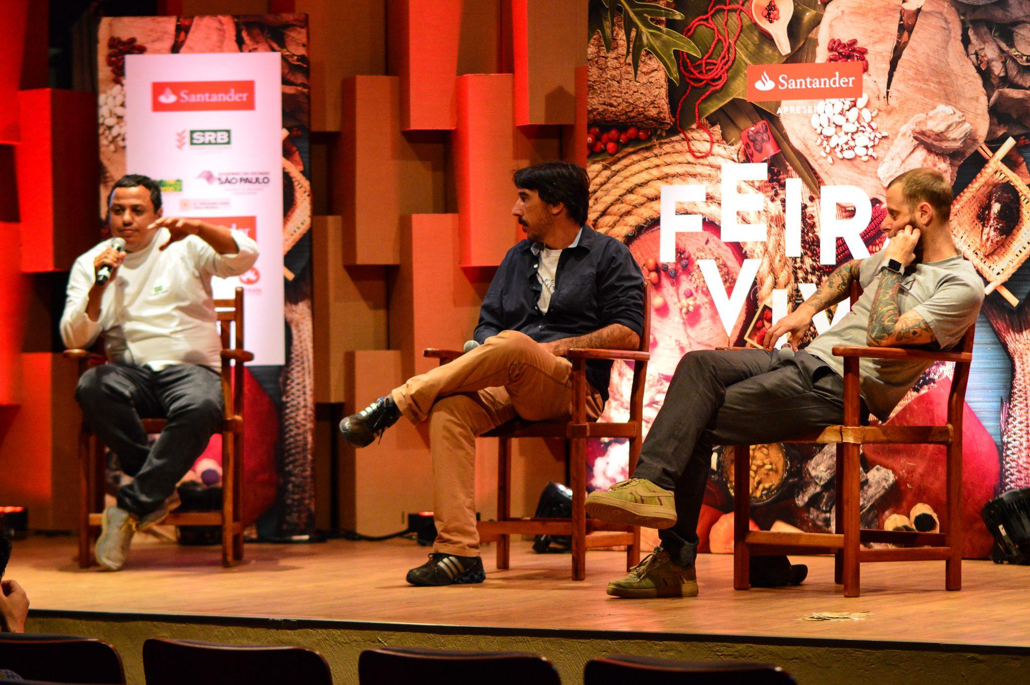 Chef Eudes conversa com Patrick Assumpção e André Mifano